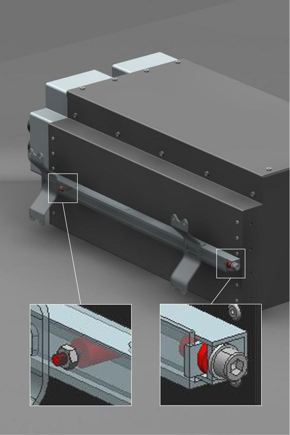 Snelbevestigingselementen van ACE (pijlen) beschermen de elektronica en werden als isolerend verbindingselement tussen de omvormer en de carrosserie gemonteerd.